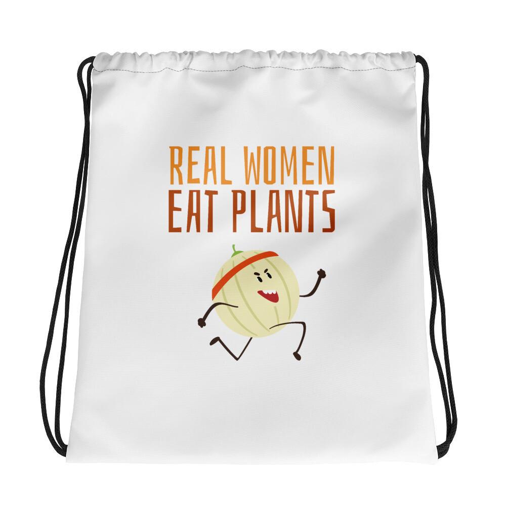 Real Women Eat Plants Drawstring bag Cantaloupe