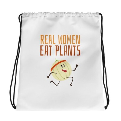 Real Women Eat Plants Drawstring bag Cantaloupe