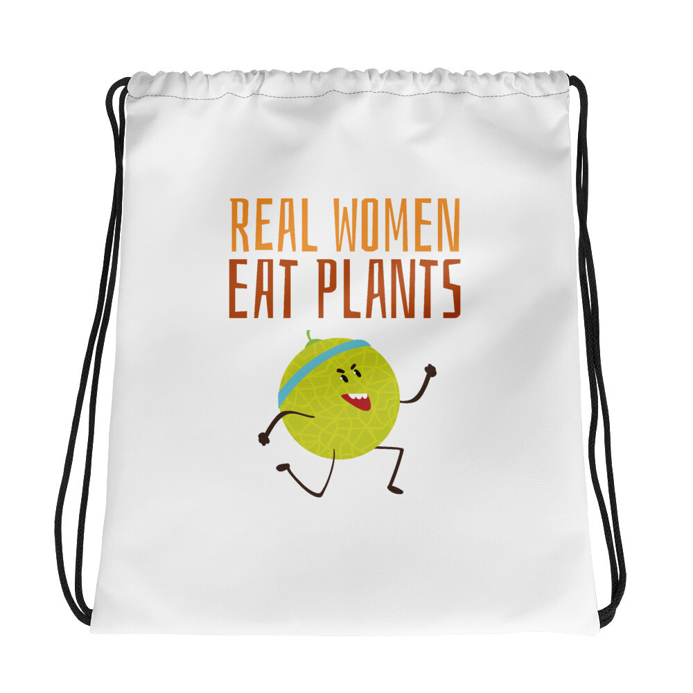 Real Women Eat Plants Drawstring bag Muskmelon