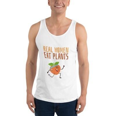 Real Women Eat Plants Unisex Tank Top Peach