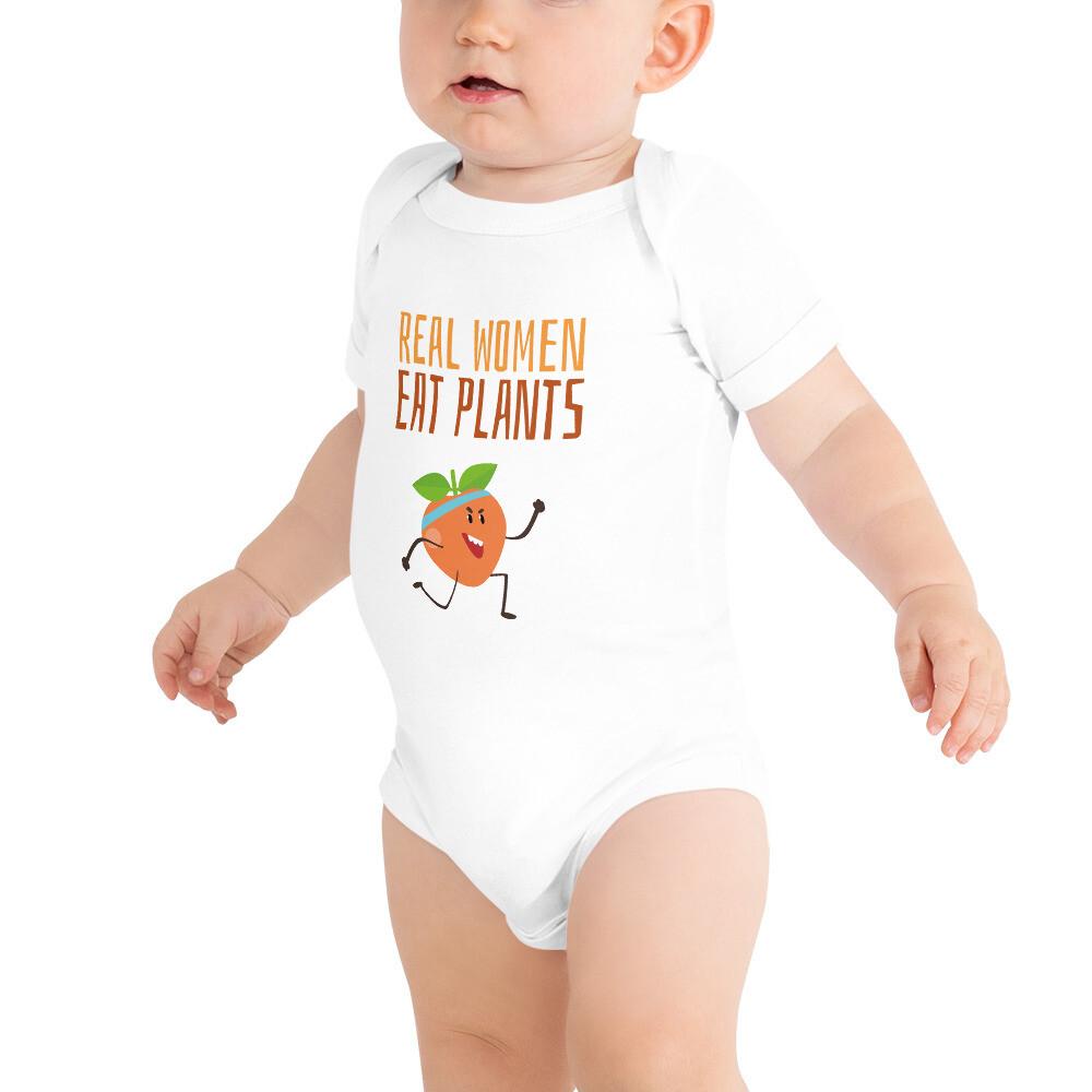 Real Women Eat Plants Baby Bodysuits Peach