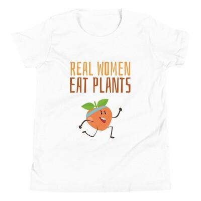 Real Women Eat Plants Youth Short Sleeve T-Shirt Peach
