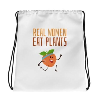 Real Women Eat Plants Drawstring bag Peach
