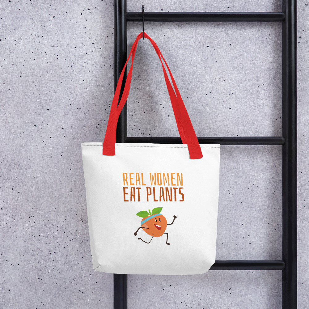 Real Women Eat Plants Tote bag Peach