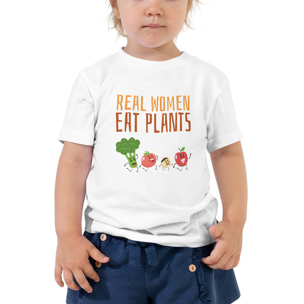 Real Women Eat Plants Toddler Short Sleeve Tee All Veggies