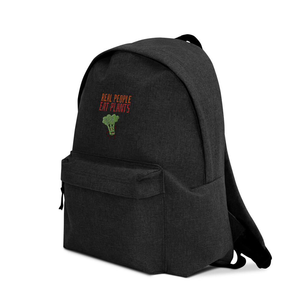 Real People Eat Plants  Embroidered Backpack Broccoli