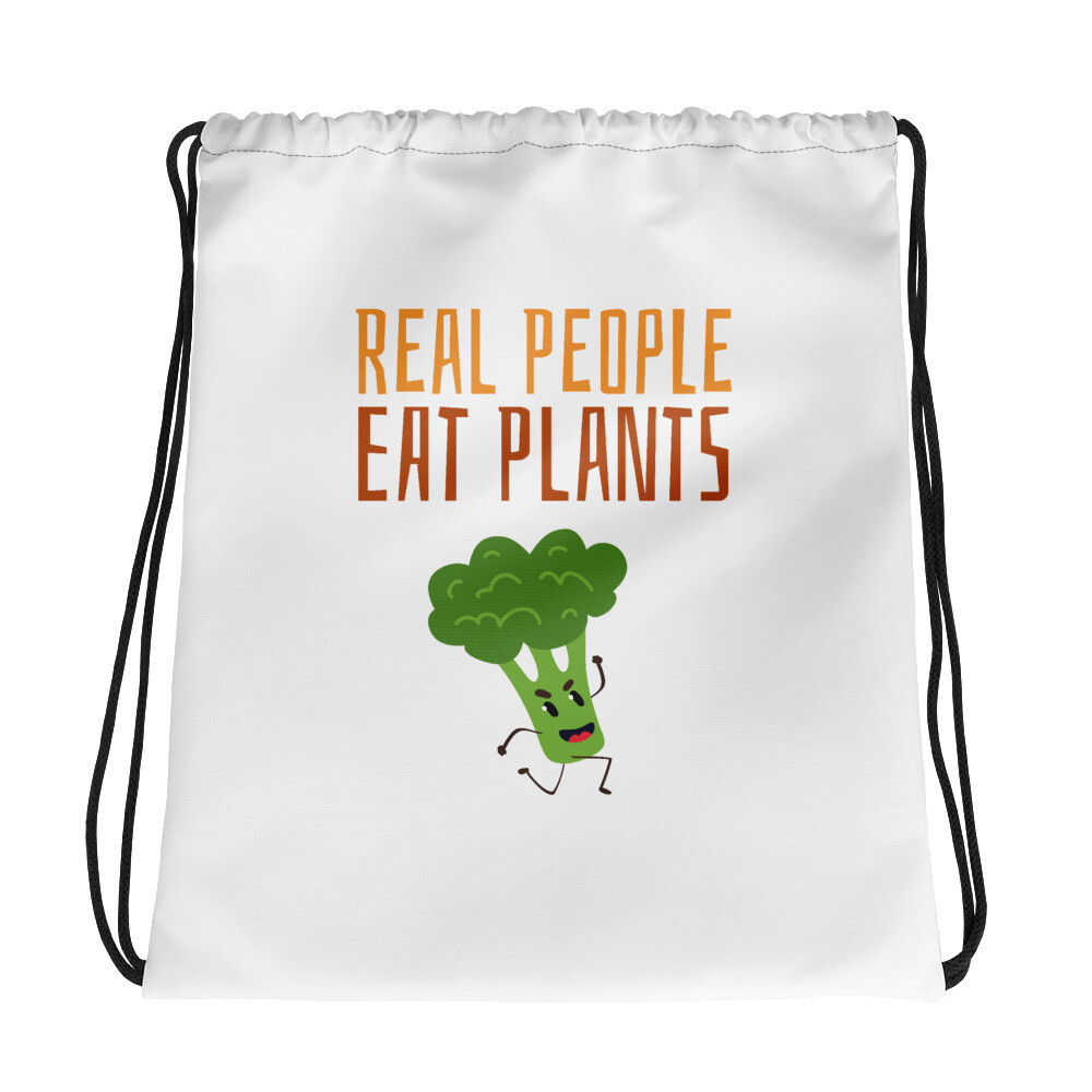 Real People Eat Plants  Drawstring Bag Broccoli