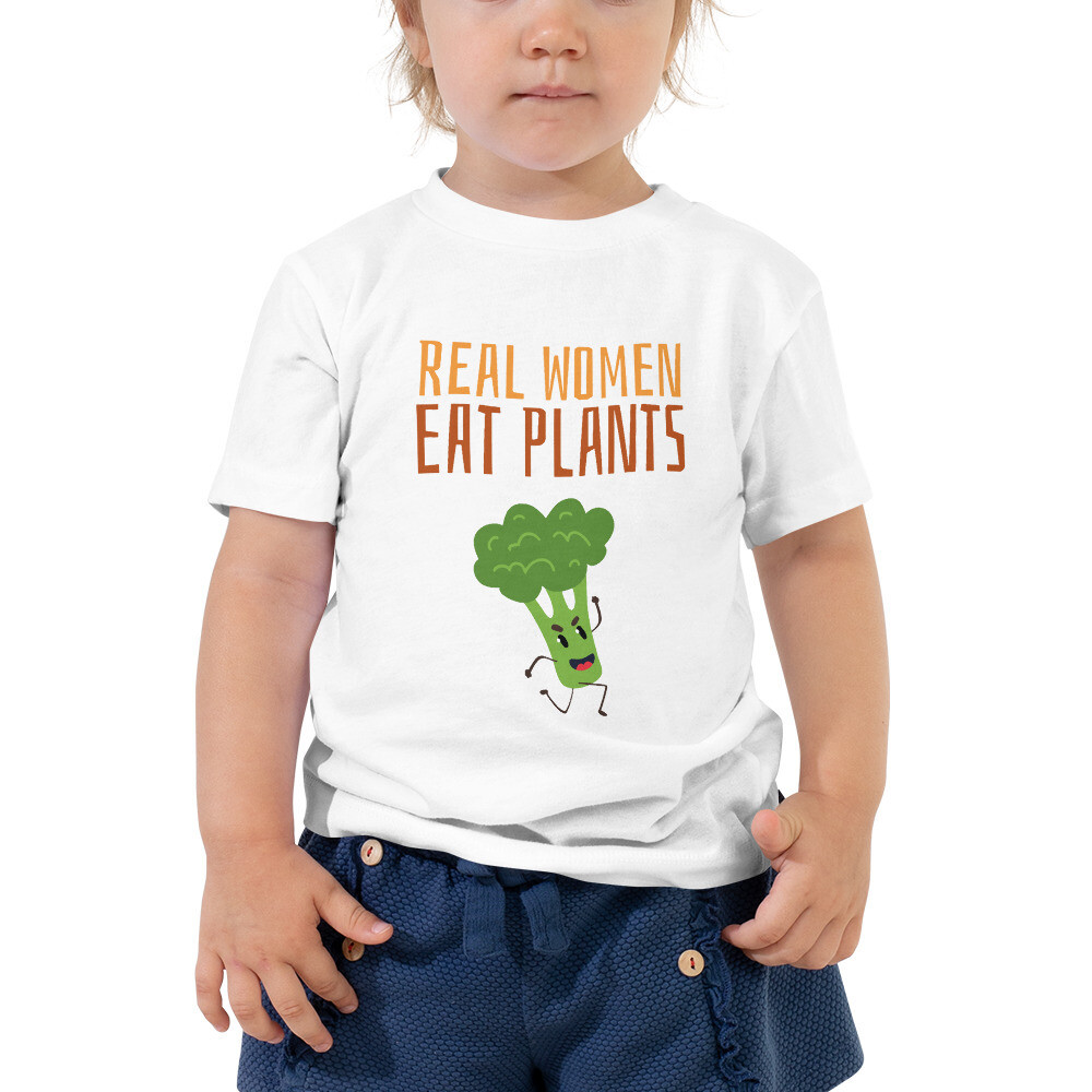 Real Women Eat Plants Toddler Short Sleeve Tee Broccoli