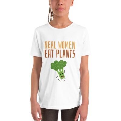Real Women Eat Plants Youth Short Sleeve T-Shirt Broccoli