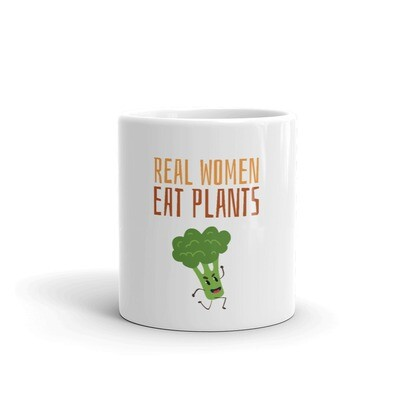 Real Women Eat Plants Glossy Mug Broccoli