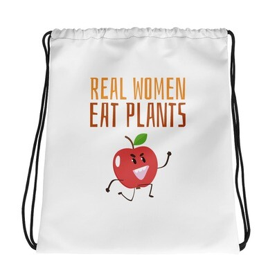 Real Women Eat Plants Drawstring bag Apple