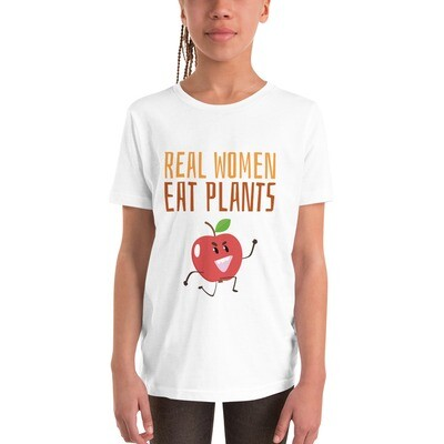 Real Women Eat Plants Youth Short Sleeve T-Shirt Apple