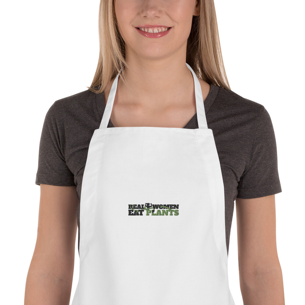 Real Women Eat Plants Embroidered Apron Logo