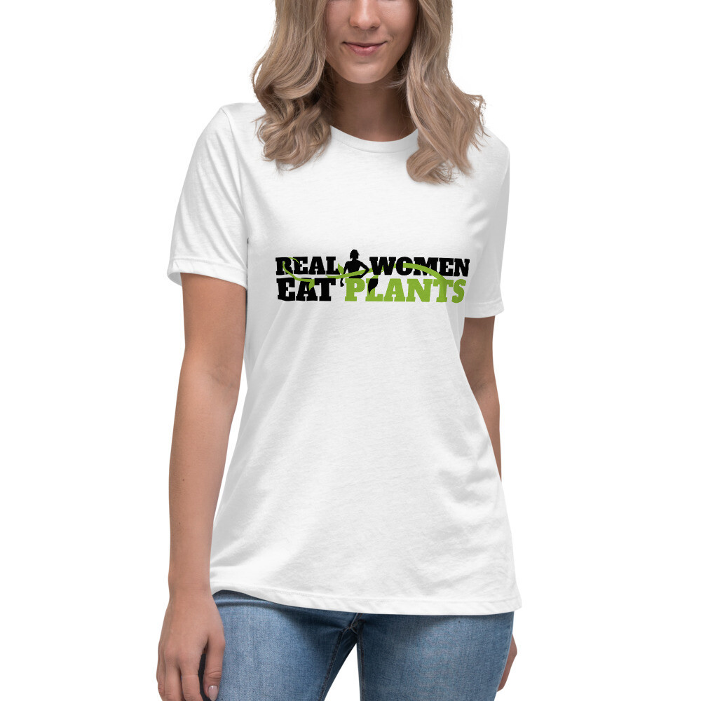 Real Women Eat Plants Women's Relaxed T-Shirt Logo