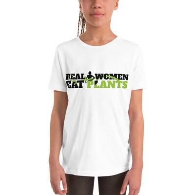Real Women Eat Plants  Youth Short Sleeve T-Shirt Logo