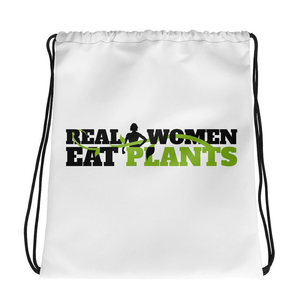 Real Women Eat Plants  Drawstring bag Logo