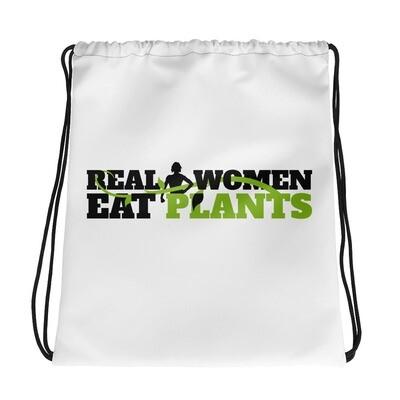 Real Women Eat Plants  Drawstring bag Logo