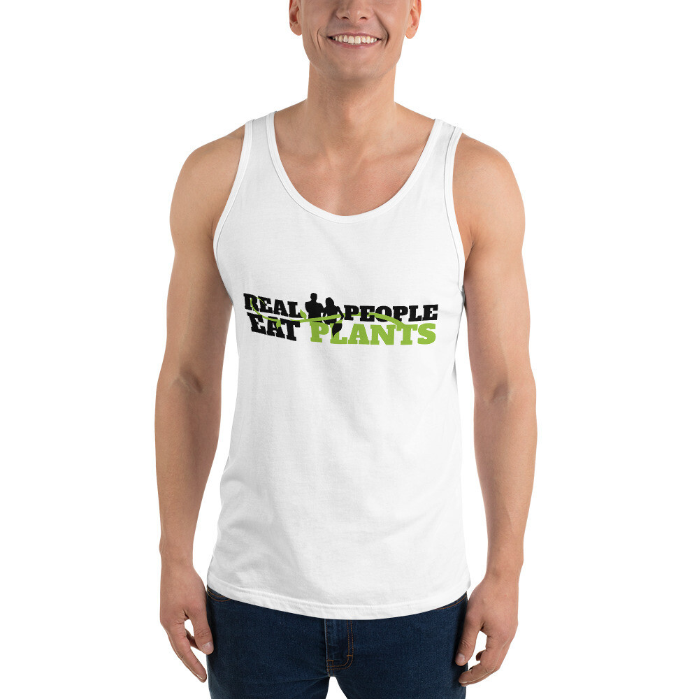 Real People Eat Plants  Unisex Tank Top Logo