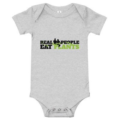 Real People Eat Plants Baby Bodysuits Logo