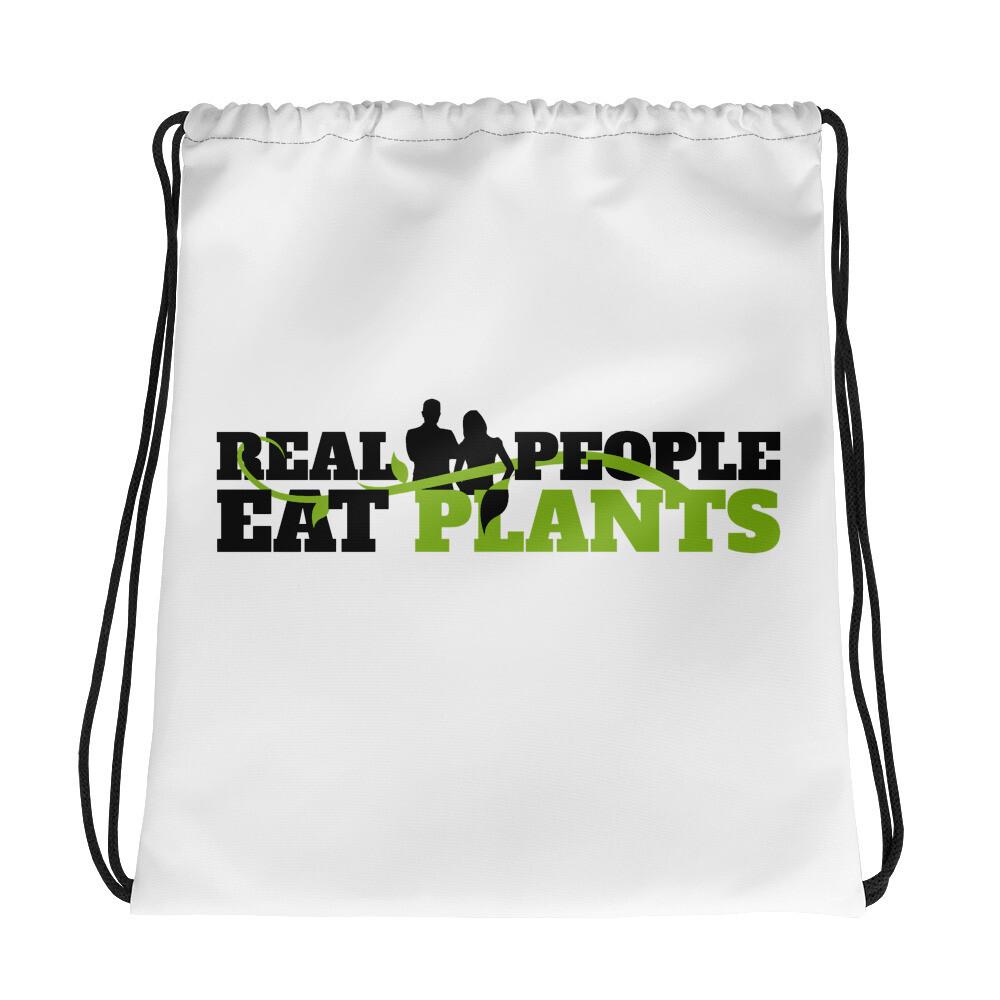 Real People Eat Plants Drawstring Bag