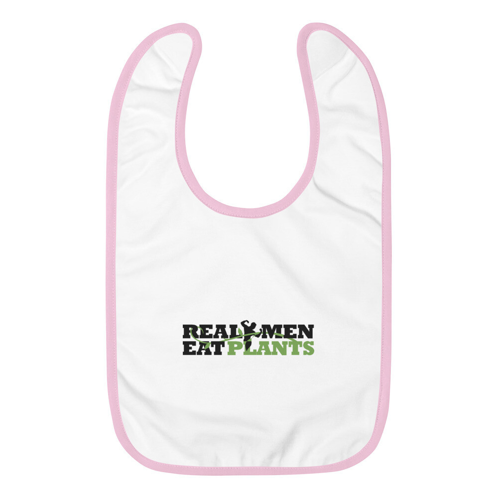 Real Men Eat Plants  Embroidered Baby Bib Logo