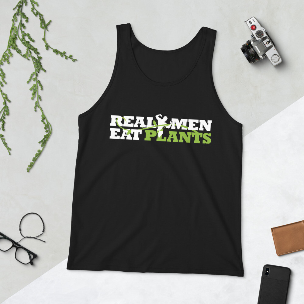 Real Men Eat Plants Unisex Tank Top Logo