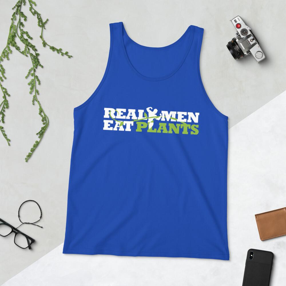 Real Men Eat Plants Unisex Tank Top with Inside Logo