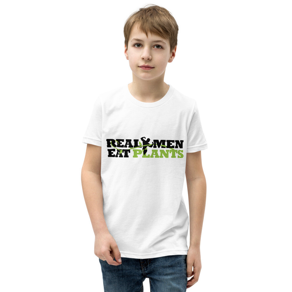 Real Men Eat Plants Youth Short Sleeve T-Shirt with Inside Logo