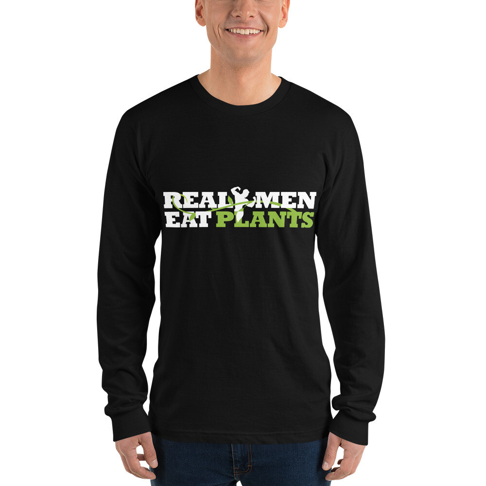 Real Men Eat Plants Long sleeve t-shirt with Outside Logo