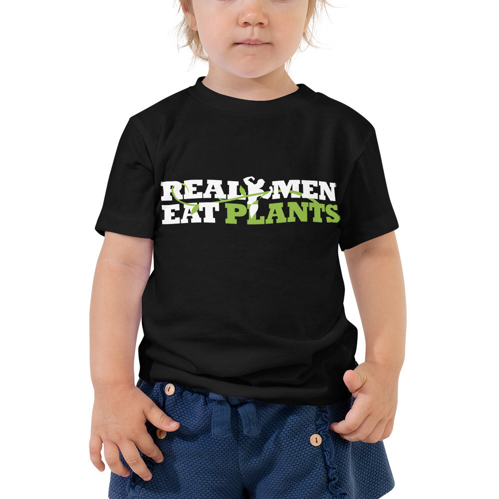Real Men Eat Plants Toddler Short Sleeve Tee with Inside Label
