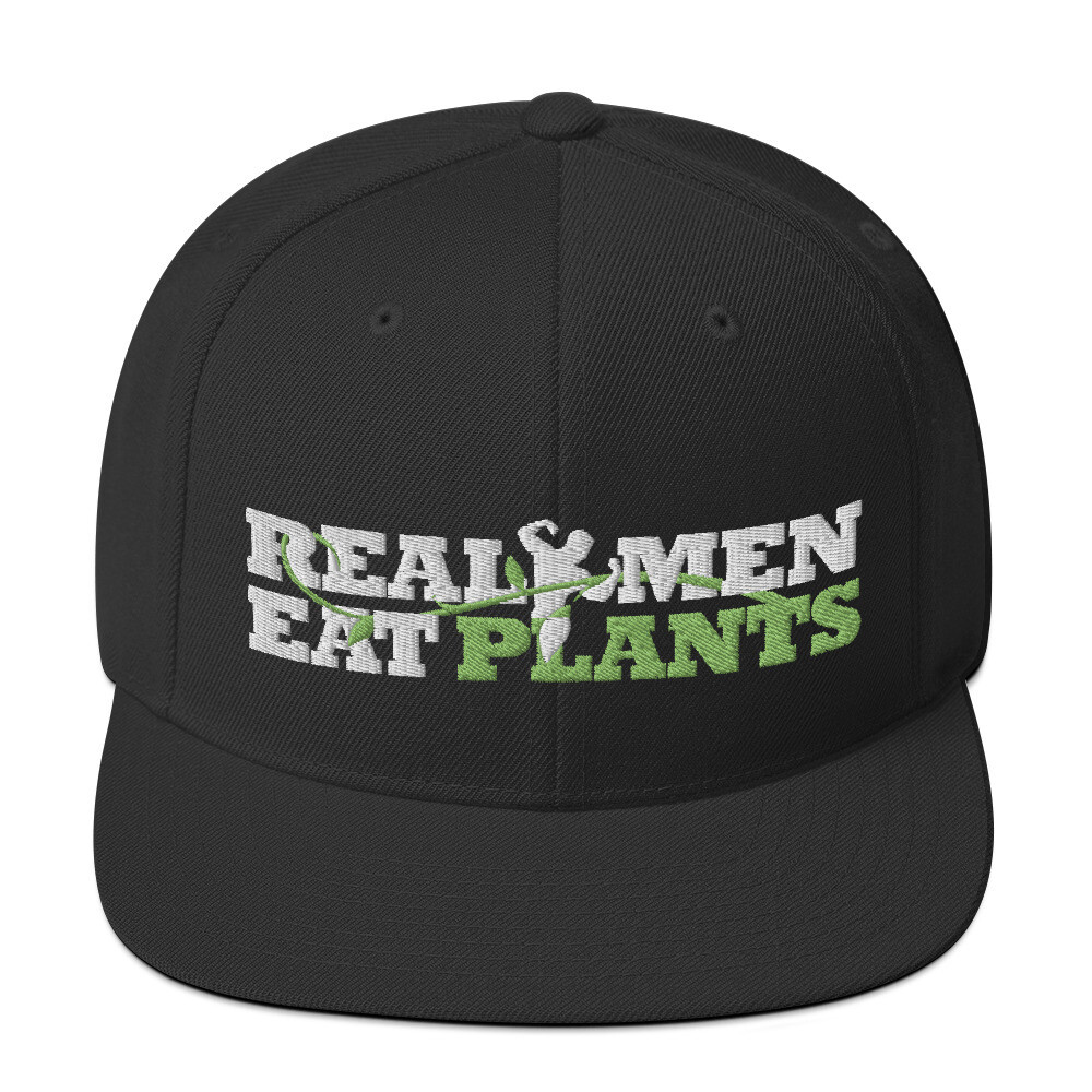 Real Men Eat Plants Snapback Hat Logo