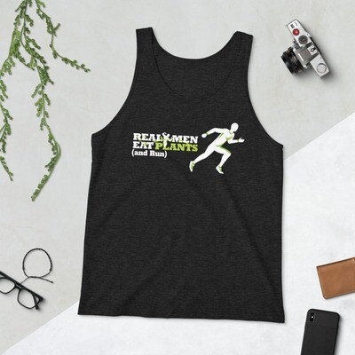 Real Men Eat Plants and Run Unisex Tank Top Logo with Inside Logo