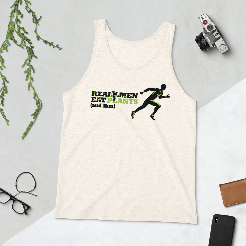 Real Men Eat Plants and Run Unisex Tank Top Logo with Inside Label