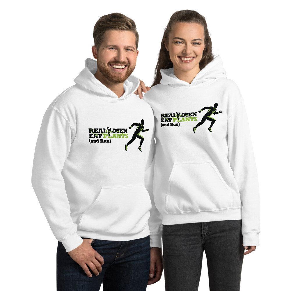 Real Men Eat Plants and Run Unisex Hoodie Logo with Outside Logo