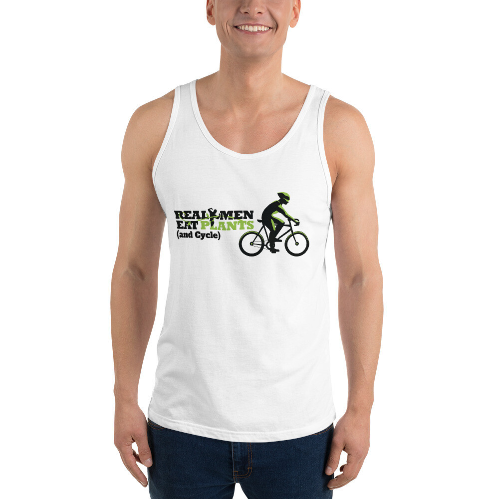 Real Men Eat Plants and Cycle  Unisex Tank Top with Inside Logo