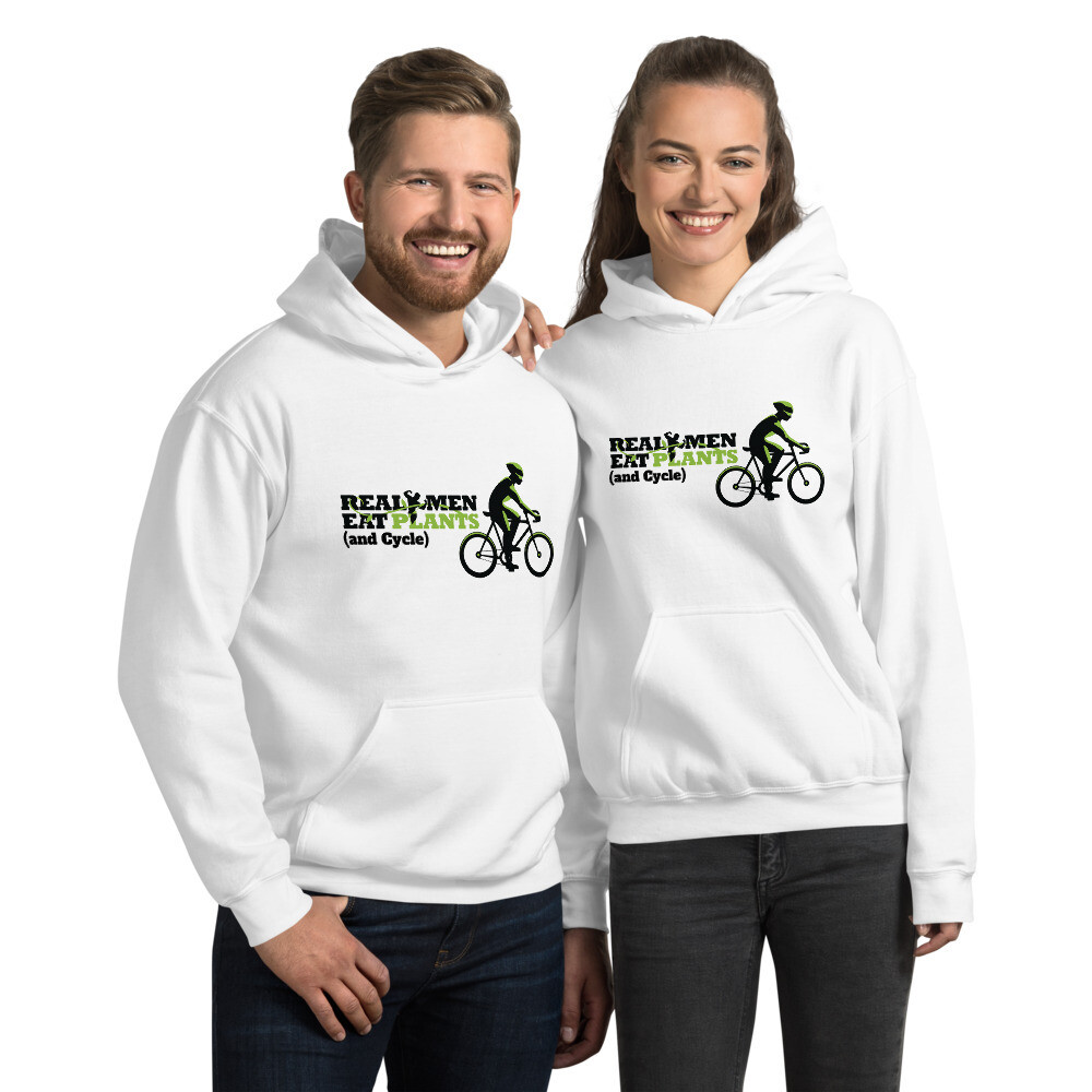 Real Men Eat Plants and Cycle  Unisex Hoodie with Outside Label