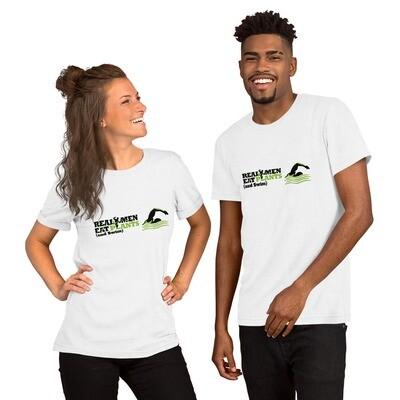 Real Men Eat Plants and Swim Short-Sleeve Unisex T-Shirt Logo with Inside Label