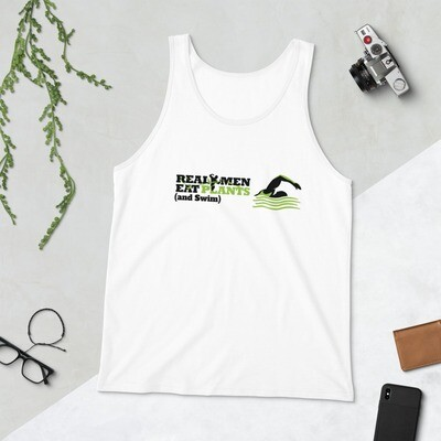 Real Men Eat Plants and Swim Unisex Tank Top Logo with Inside Label