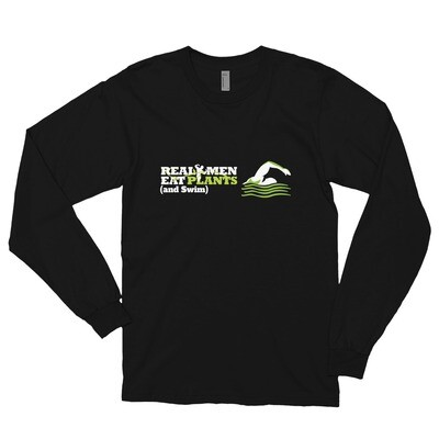 Real Men Eat Plants and Swim Long sleeve t-shirt Logo with Outside Label