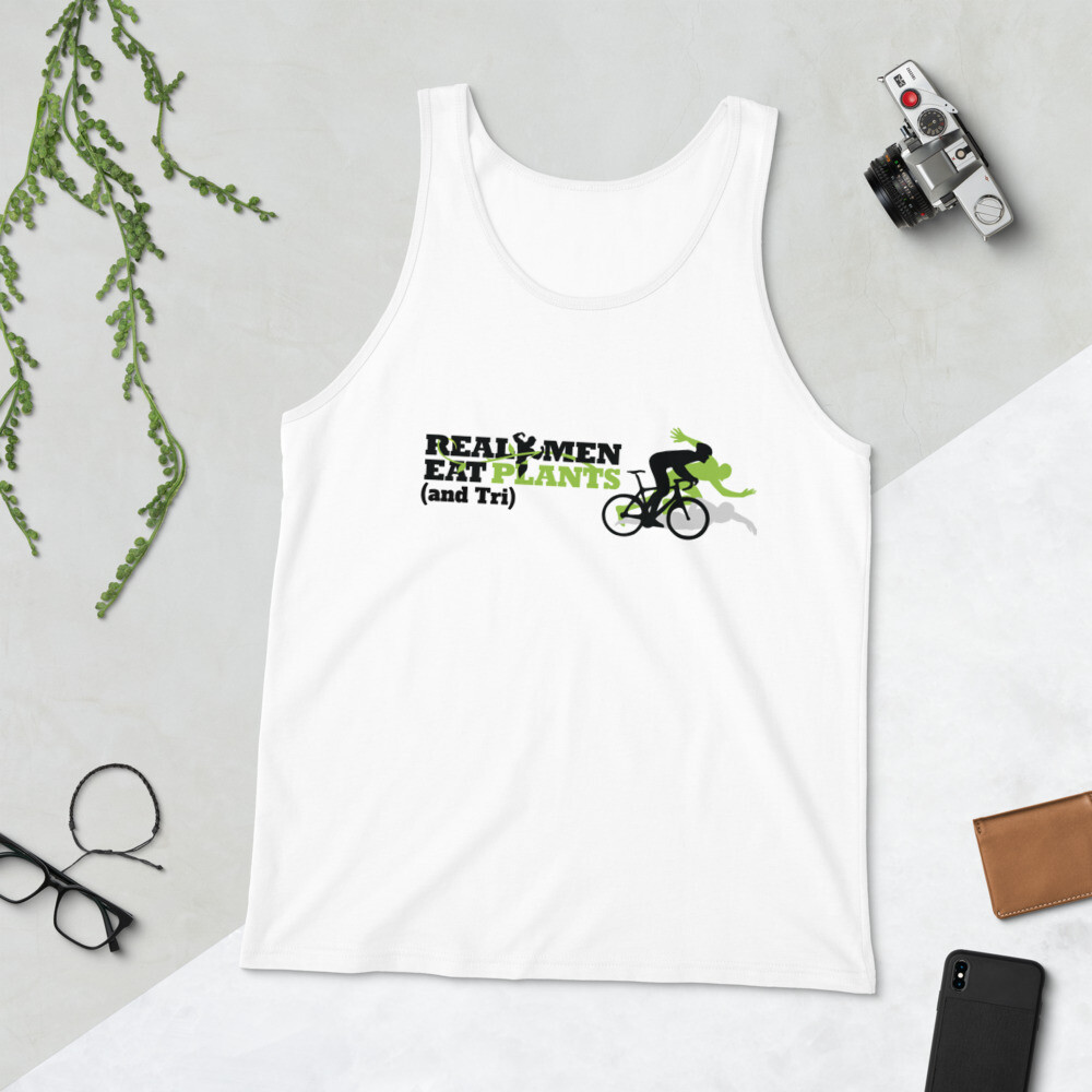Real Men Eat Plants and Tri Unisex Tank Top Logo with Inside Label