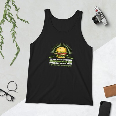 Real Men Eat Plants Statement Unisex Tank Top with Outside Logo
