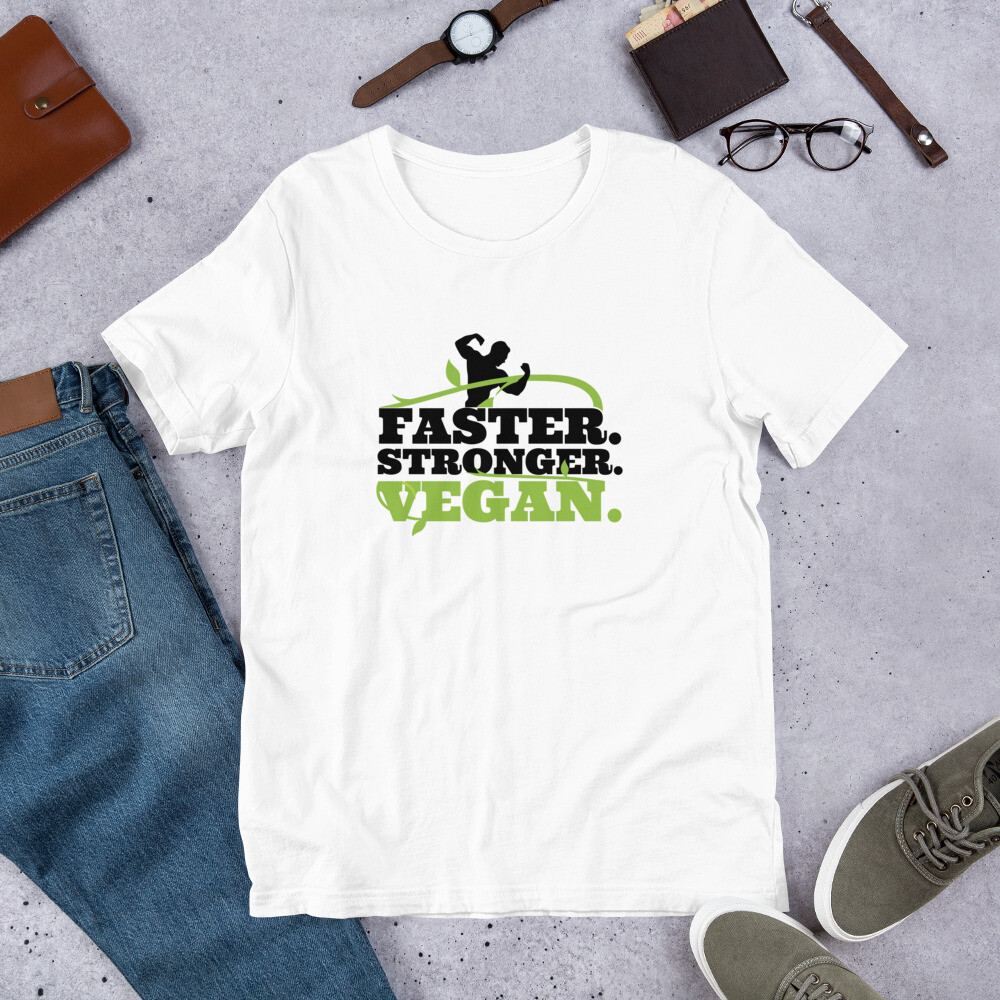 Real Men Eat Plants Statement Shirt Faster. Stronger. Vegan. Short-Sleeve Unisex T-Shirt