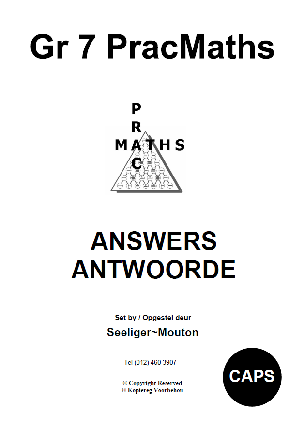 Gr 7 Prac Maths Answers/ Antwoorde