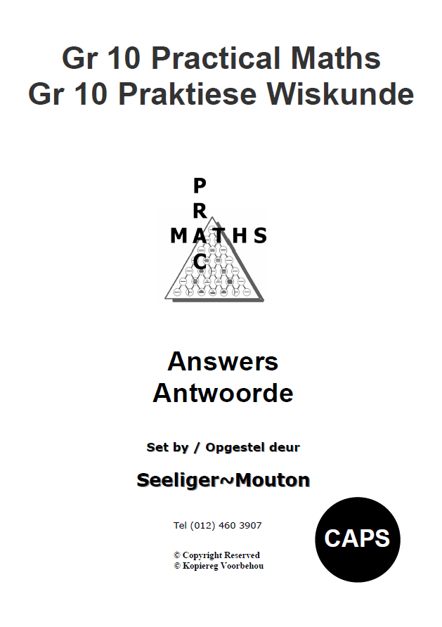 Gr 10 Prac Maths Answers/ Antwoorde