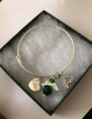 Sister Angel And Initial Charm Bangle
