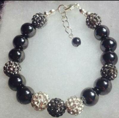 Hematite Shamballa Crystal Bracelet