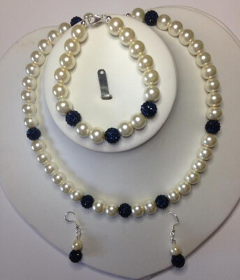 Elegance Set a hand made Pearl and Shamballa Set