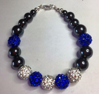 Blue and White Shamballa and Hematite Gemstone Bracelet