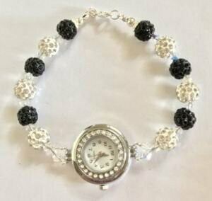 Black and White Shamballa Watch
