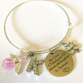 Mother And Daughter Initial And Angel Charm Bracelet